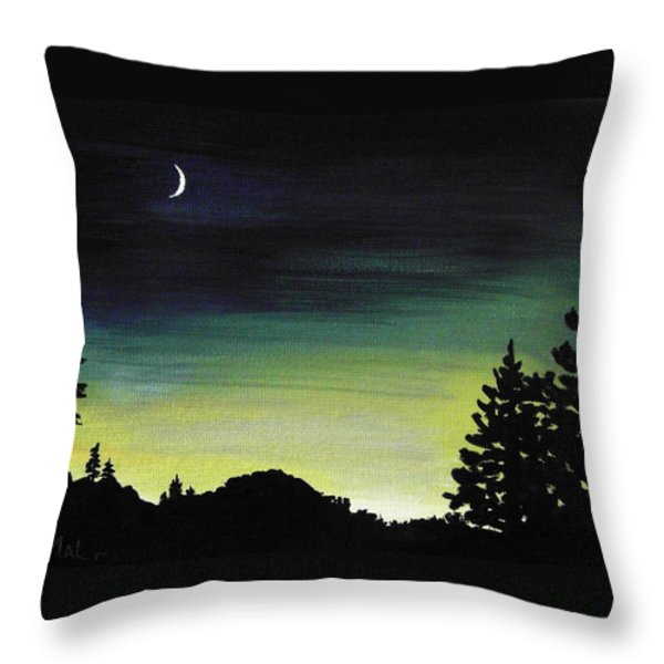 New Moon Throw Pillow by Anastasiya Malakhova