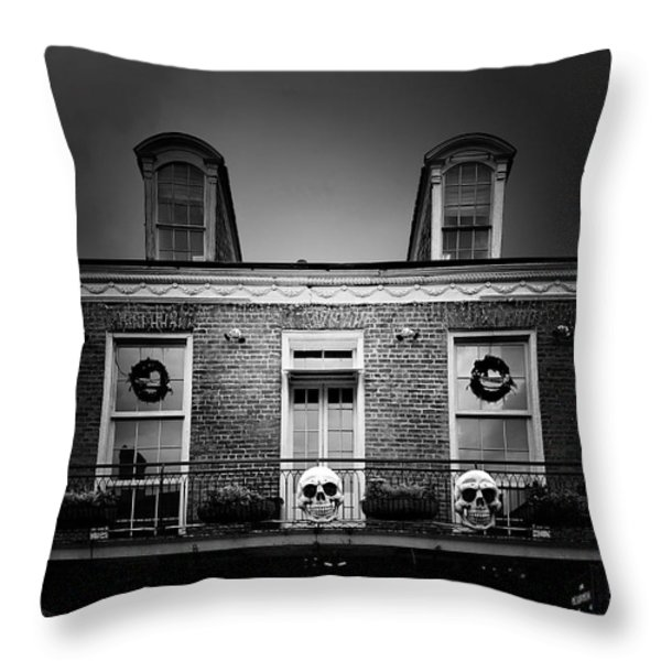 New Orleans- A Skull Paradise Throw Pillow by Christine Till