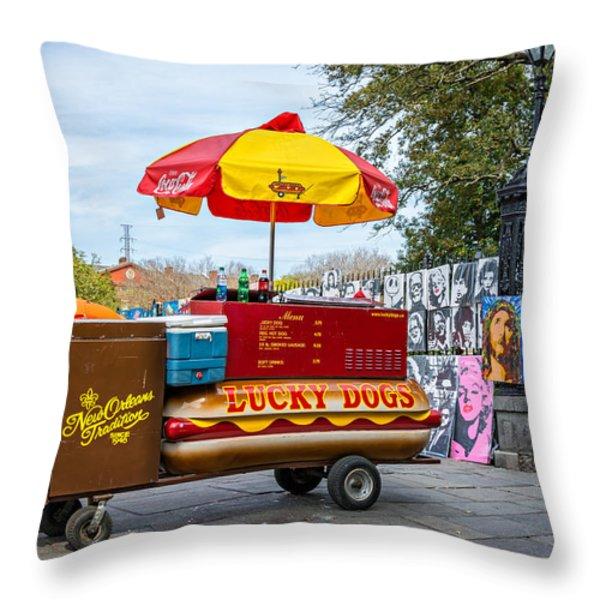 New Orleans - Lucky Dogs  Throw Pillow by Steve Harrington