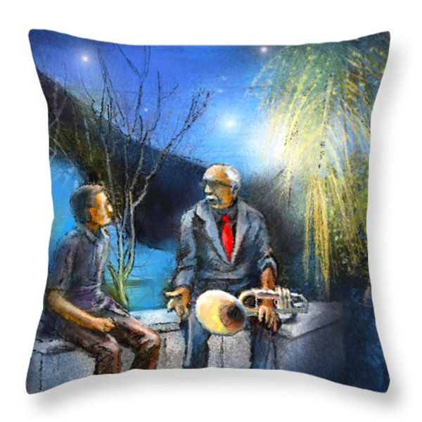 New Orleans Nights 02 Throw Pillow by Miki De Goodaboom