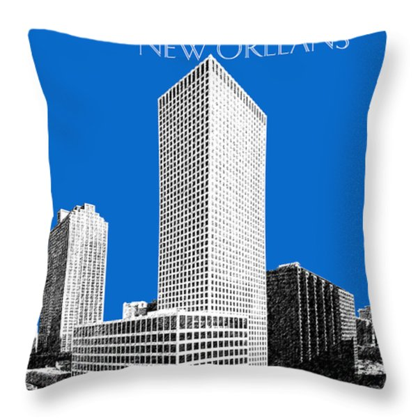 New Orleans Skyline - Blue Throw Pillow by DB Artist