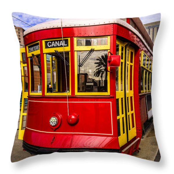 New Orleans Streetcar  Throw Pillow by Paul Velgos