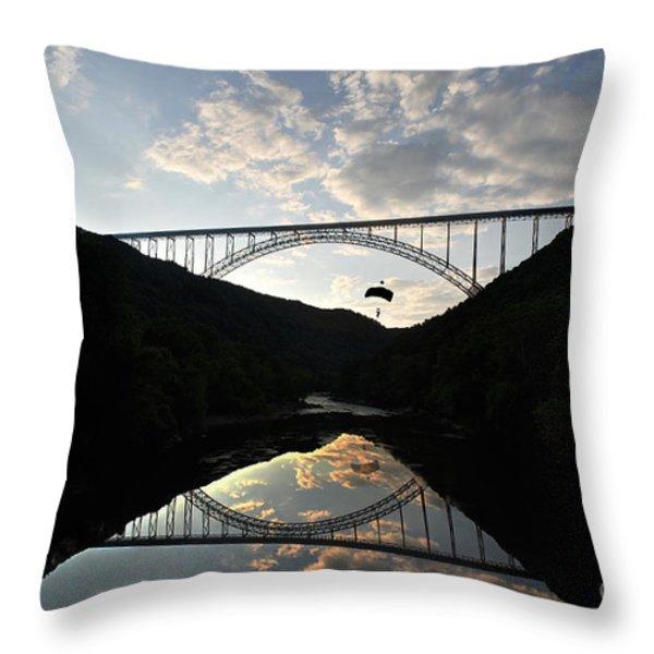 New River Bridge -  Base Jumper Throw Pillow by Dan Friend