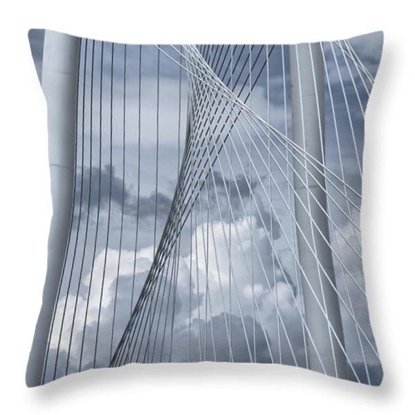 New Skyline Bridge Throw Pillow by Joan Carroll