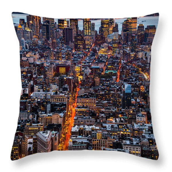 New York Aerial Cityscape Throw Pillow by Mihai Andritoiu