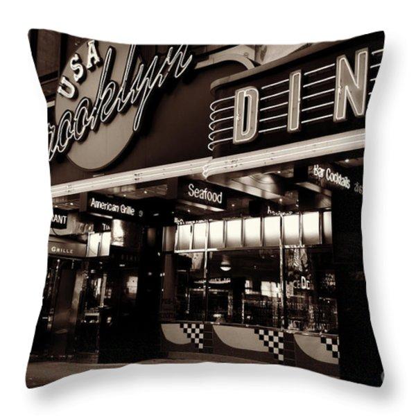 New York At Night - Brooklyn Diner - Sepia Throw Pillow by Miriam Danar