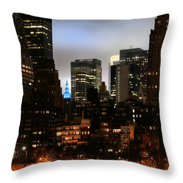 New York City Blue Throw Pillow by JC Findley