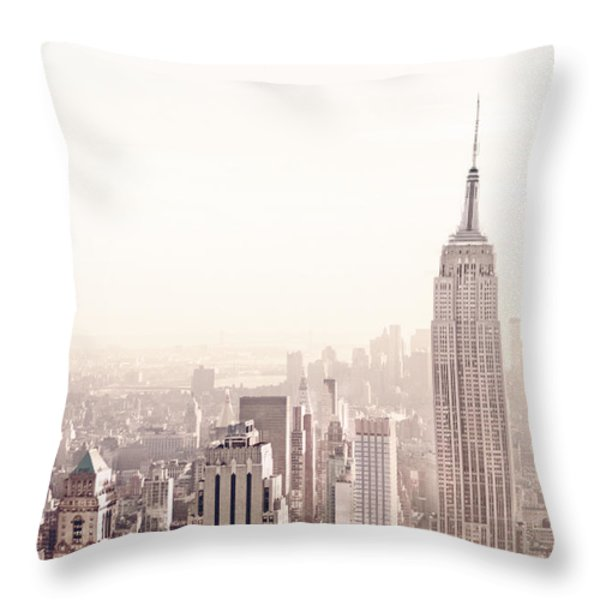New York City - Empire State Building Throw Pillow by Vivienne Gucwa