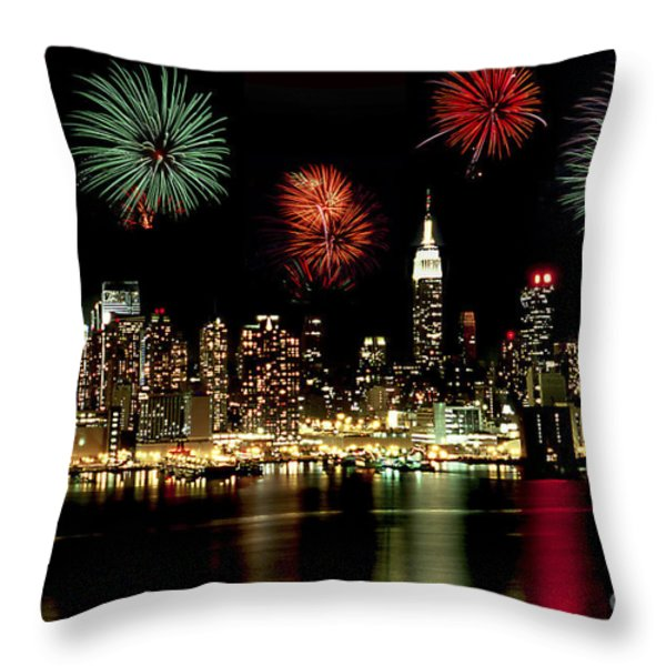 New York City Fourth Of July Throw Pillow by Anthony Sacco