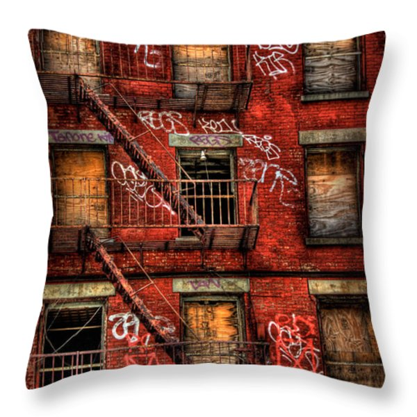 New York City Graffiti Building Throw Pillow by Amy Cicconi