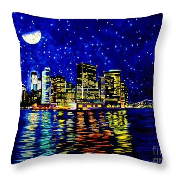 New York City Lower Manhattan Throw Pillow by Christopher Shellhammer