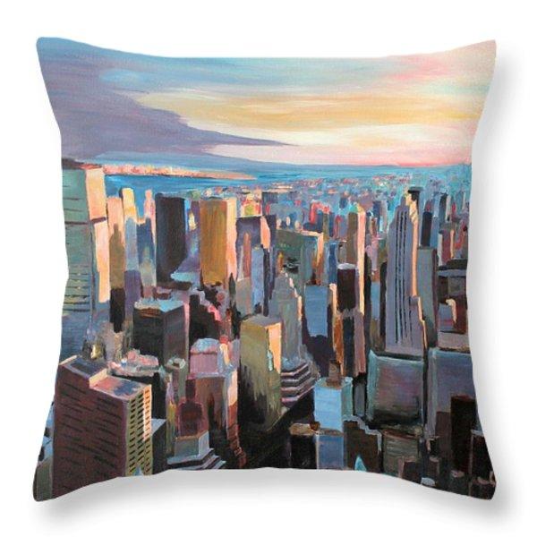New York City - Manhattan Skyline in Warm Sunlight Throw Pillow by M Bleichner