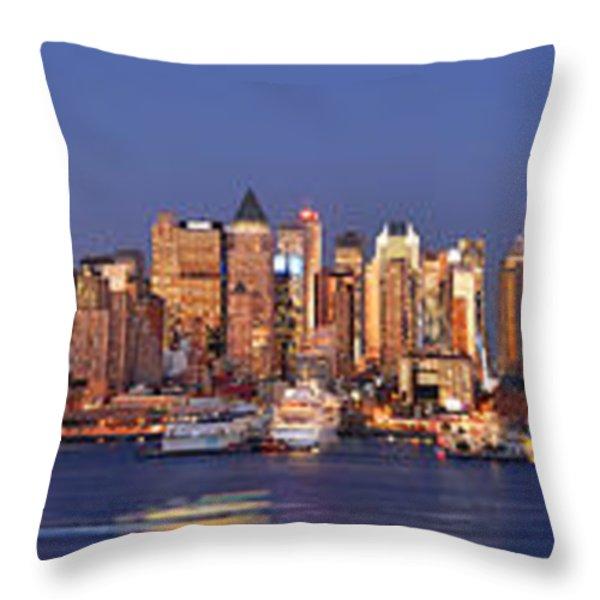 New York City Midtown Manhattan At Dusk Throw Pillow by Jon Holiday