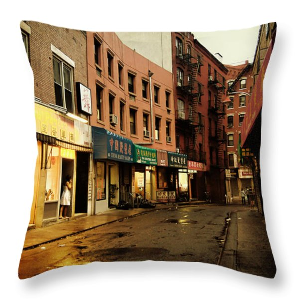 New York City - Rainy Afternoon - Doyers Street Throw Pillow by Vivienne Gucwa