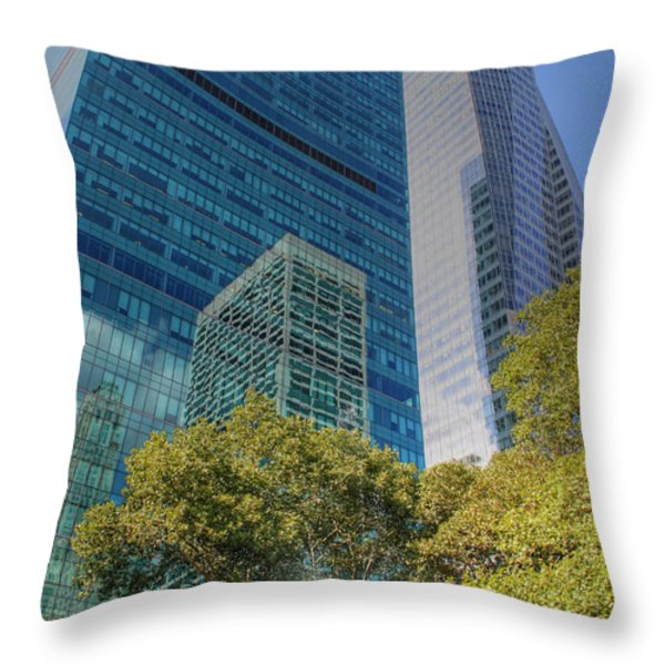New York City Reflections Throw Pillow by Bob Hislop