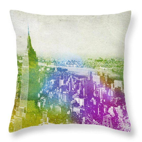 New York City Skyline Throw Pillow by Aged Pixel