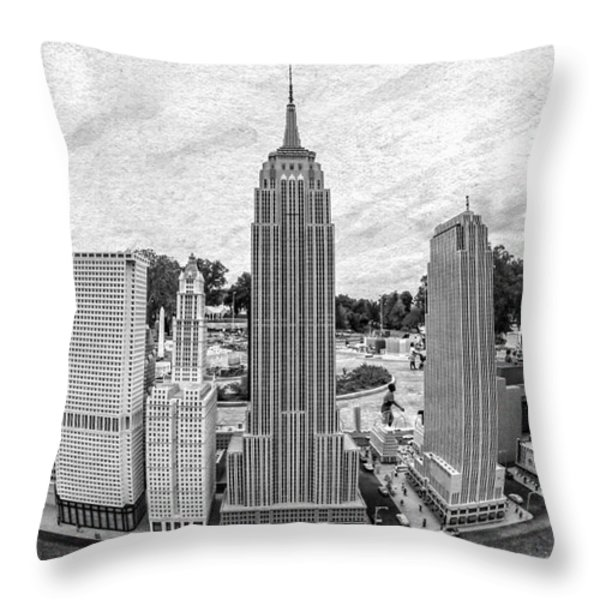 New York City Skyline - Lego Throw Pillow by Edward Fielding