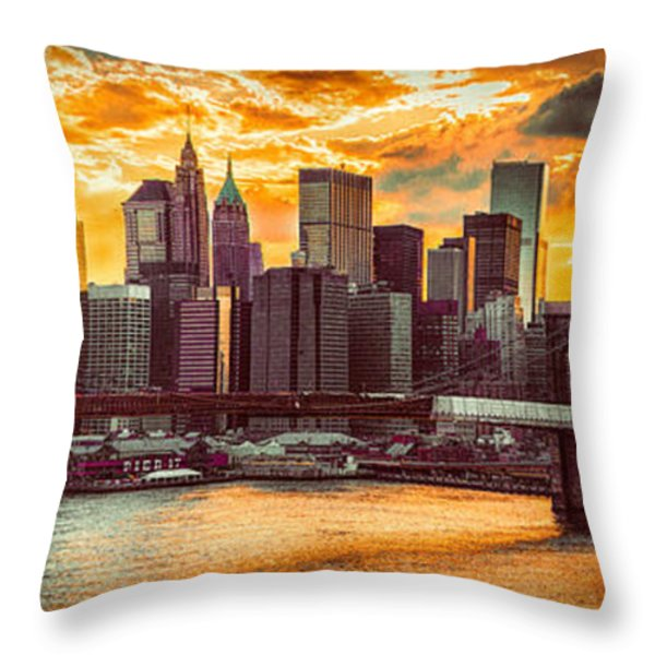 New York City Summer Panorama Throw Pillow by Chris Lord