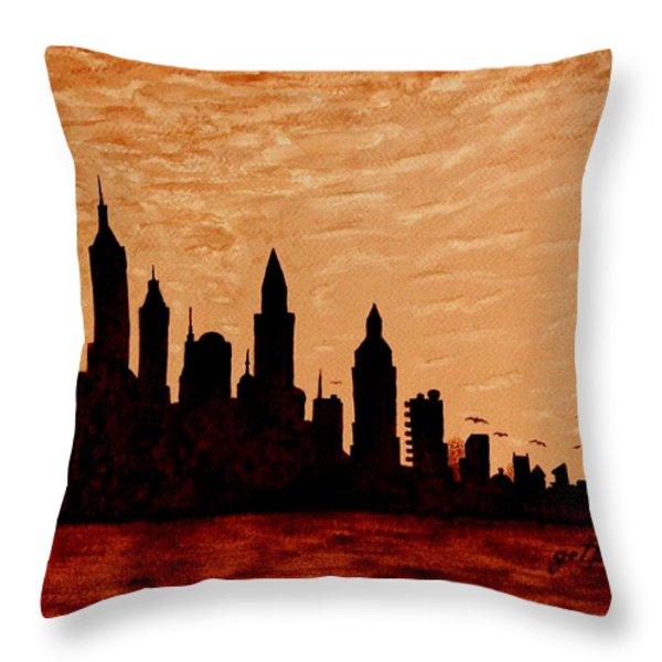 New York City Sunset Silhouette Throw Pillow by Georgeta  Blanaru