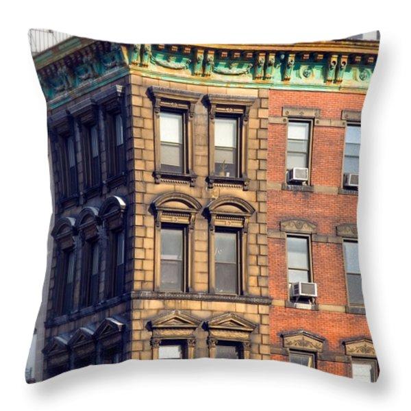 New York City - Windows - Old Charm Throw Pillow by Gary Heller