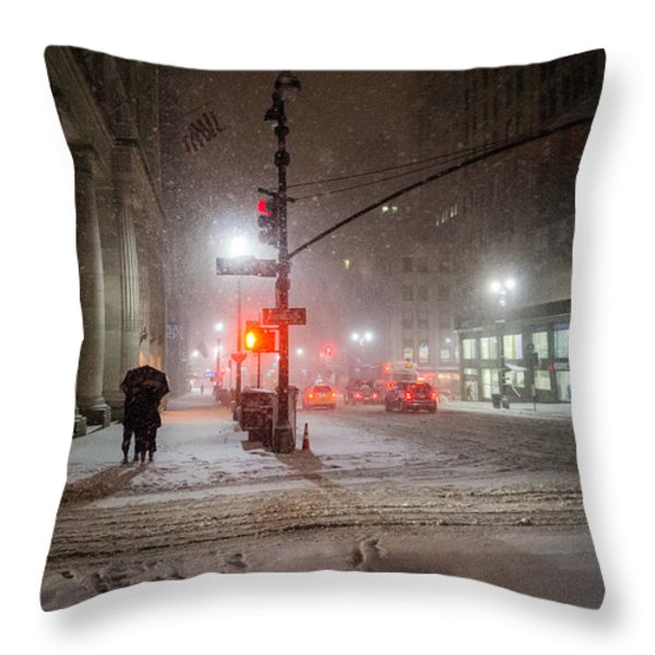 New York City Winter - Romance In The Snow Throw Pillow by Vivienne Gucwa