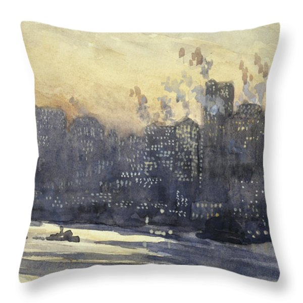 New York harbor and skyline at night circa 1921 Throw Pillow by Aged Pixel