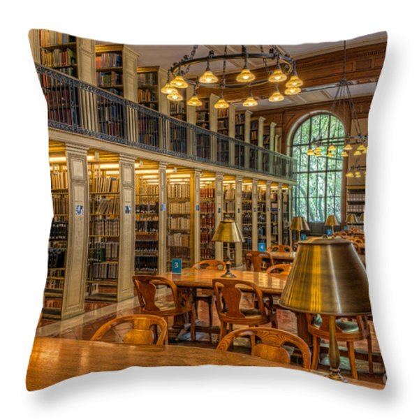 New York Public Library Genealogy Room I Throw Pillow by Clarence Holmes