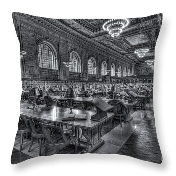 New York Public Library Main Reading Room V Throw Pillow by Clarence Holmes