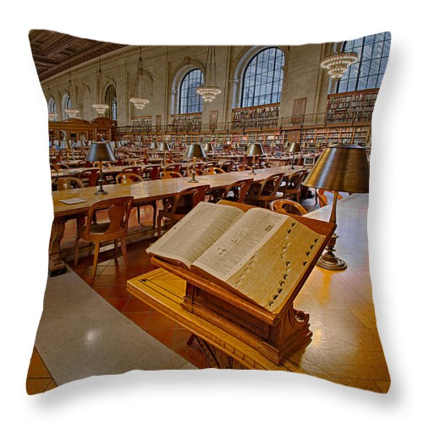 New York Public Library Rose Main Reading Room Throw Pillow by Susan Candelario