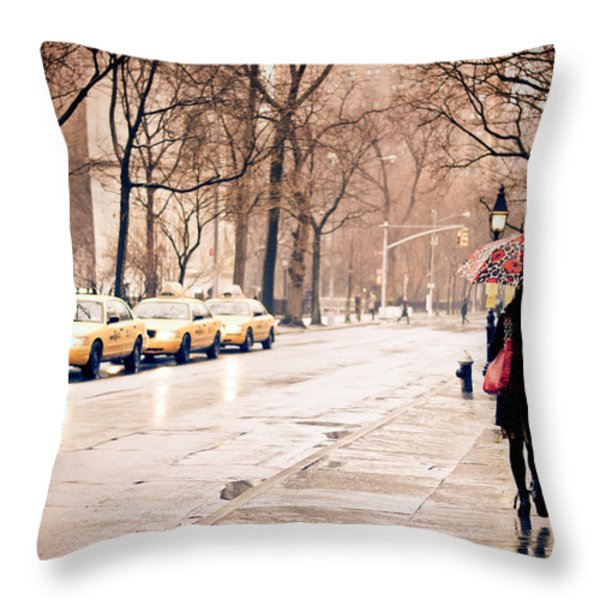 New York Rain - Greenwich Village Throw Pillow by Vivienne Gucwa