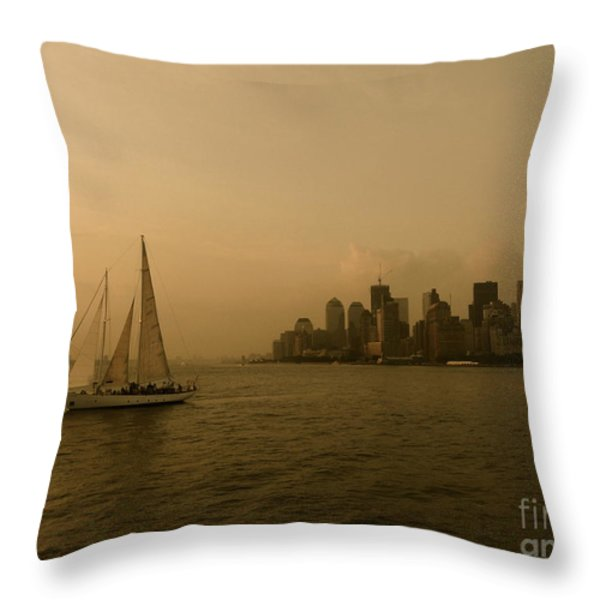 New York Sailing Throw Pillow by Avis  Noelle