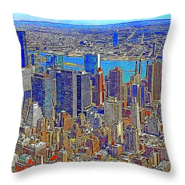 New York Skyline 20130430 Throw Pillow by Wingsdomain Art and Photography