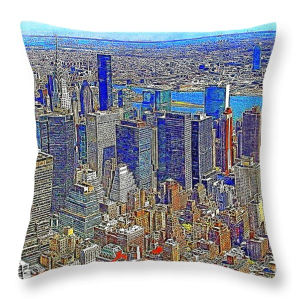New York Skyline 20130430v3 Throw Pillow by Wingsdomain Art and Photography