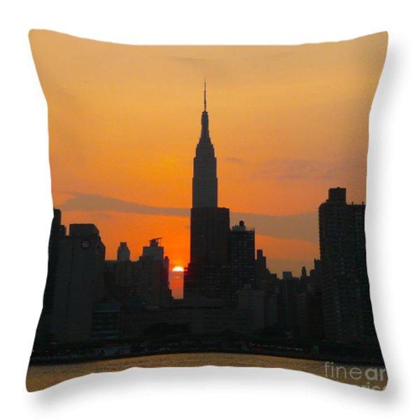 New York Skyline At Sunset Throw Pillow by Avis  Noelle