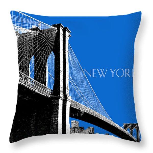 New York Skyline Brooklyn Bridge - Blue Throw Pillow by DB Artist