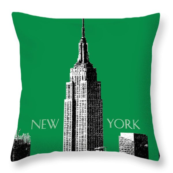 New York Skyline Empire State Building - Forest Green Throw Pillow by DB Artist