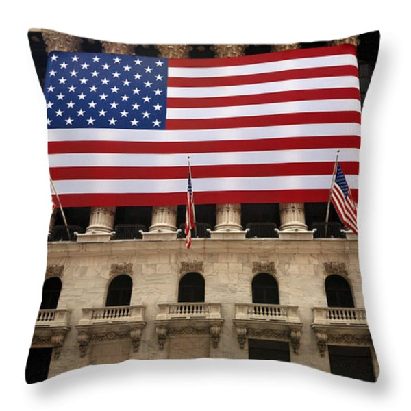 New York Stock Exchange Bride and Groom Dancing Throw Pillow by Amy Cicconi