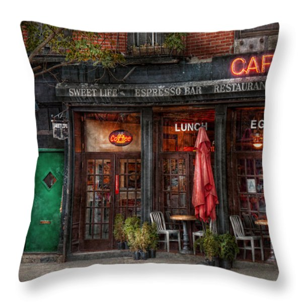 New York - Store - Greenwich Village - Sweet Life Cafe Throw Pillow by Mike Savad