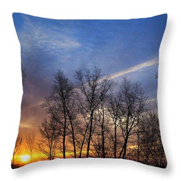 New York Sunset Throw Pillow by Christina Rollo