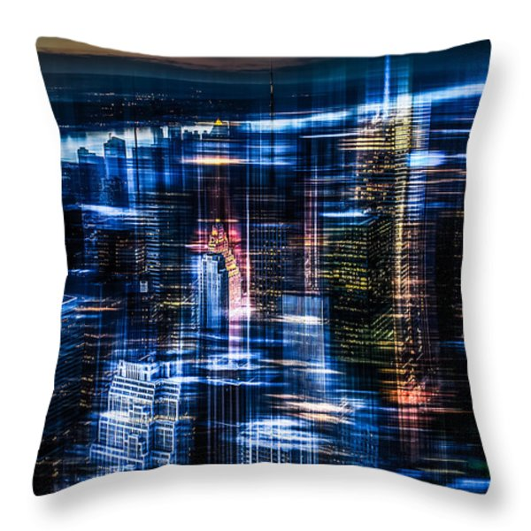 New York - the night awakes - blue I Throw Pillow by Hannes Cmarits