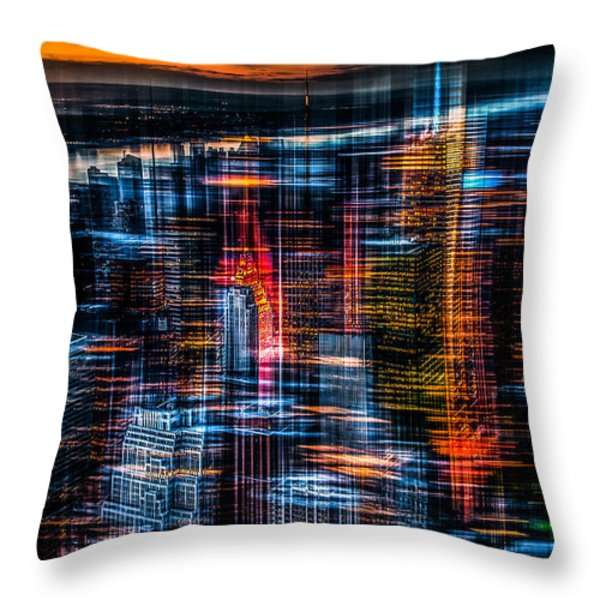 New York- the night awakes - orange Throw Pillow by Hannes Cmarits