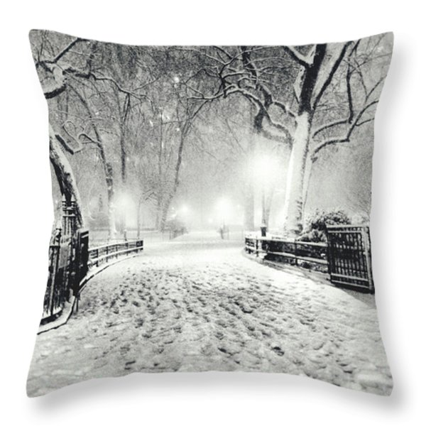 New York Winter Landscape - Madison Square Park Snow Throw Pillow by Vivienne Gucwa