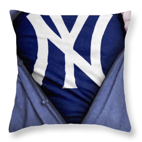 New York Yankees Fan Throw Pillow by Antony McAulay