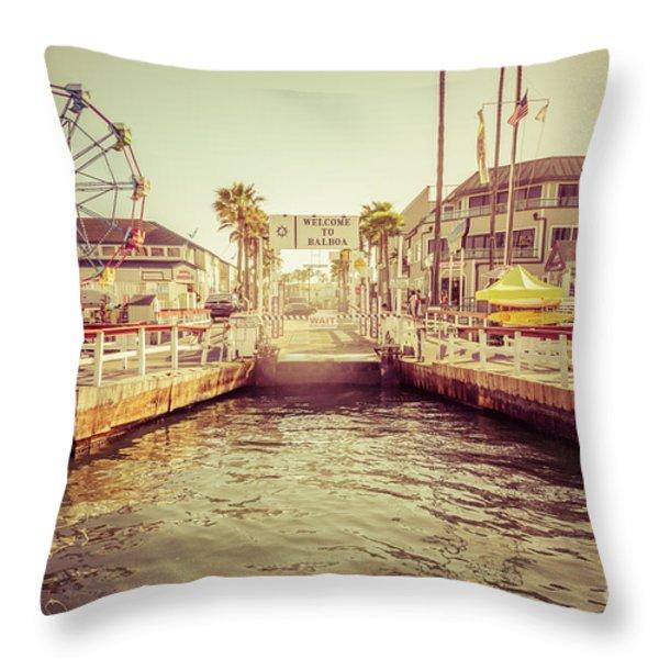 Newport Beach Balboa Island Ferry Dock Photo Throw Pillow by Paul Velgos
