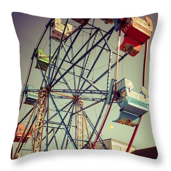Newport Beach Ferris Wheel in Balboa Fun Zone Photo Throw Pillow by Paul Velgos