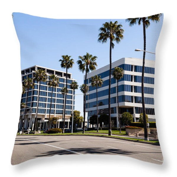 Newport Beach Office Buildings Orange County California Throw Pillow by Paul Velgos