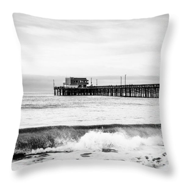 Newport Beach Pier Throw Pillow by Paul Velgos