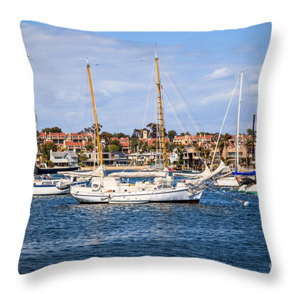 Newport Harbor Boats In Orange County California Throw Pillow by Paul Velgos