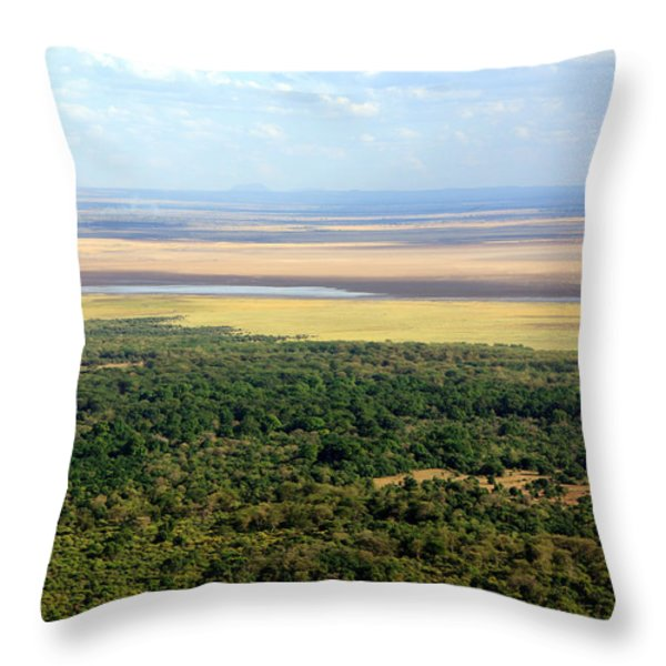 Ngorongoro Crater Tanzania East Africa Throw Pillow by Aidan Moran