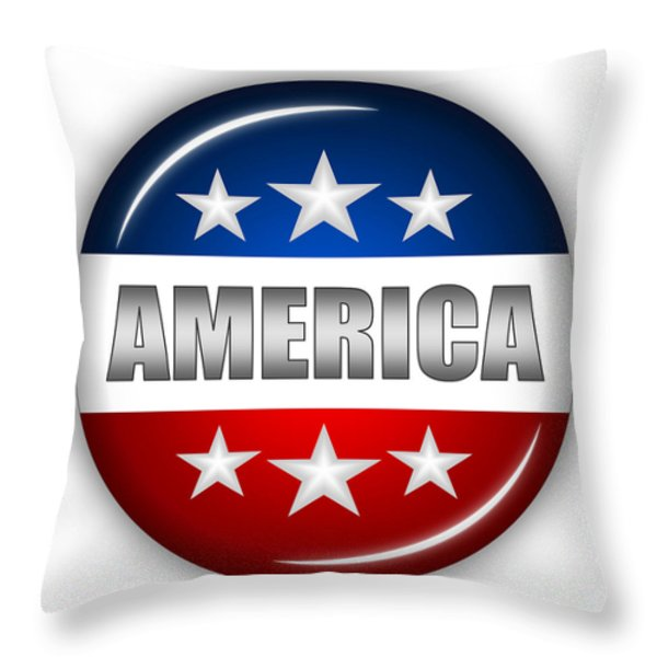 Nice America Shield Throw Pillow by Pamela Johnson